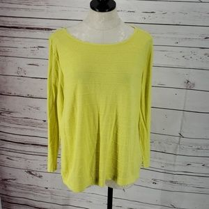 Investments Lemon Yellow Linen Blouse